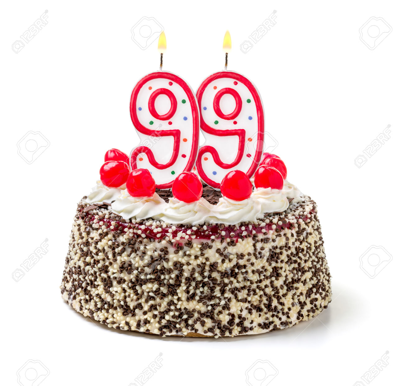 Birthday cake with burning candle number 99
